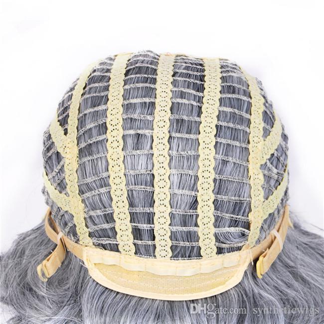 짧은 물결 모양의 합성 머리 옹 브르 WoodFestival 할머니 회색 가발 곱슬 곱슬 한 아프리카 계 미국인 여성이 검은 색에 강한 섬유 가발을 열 가발