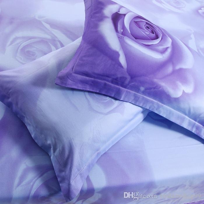 New Comforter Bedding Sets 3D Bed Sheet Set Duvet Cover Purple rosequeen Size Beddings 100% Cotton Reactive Printing Beds