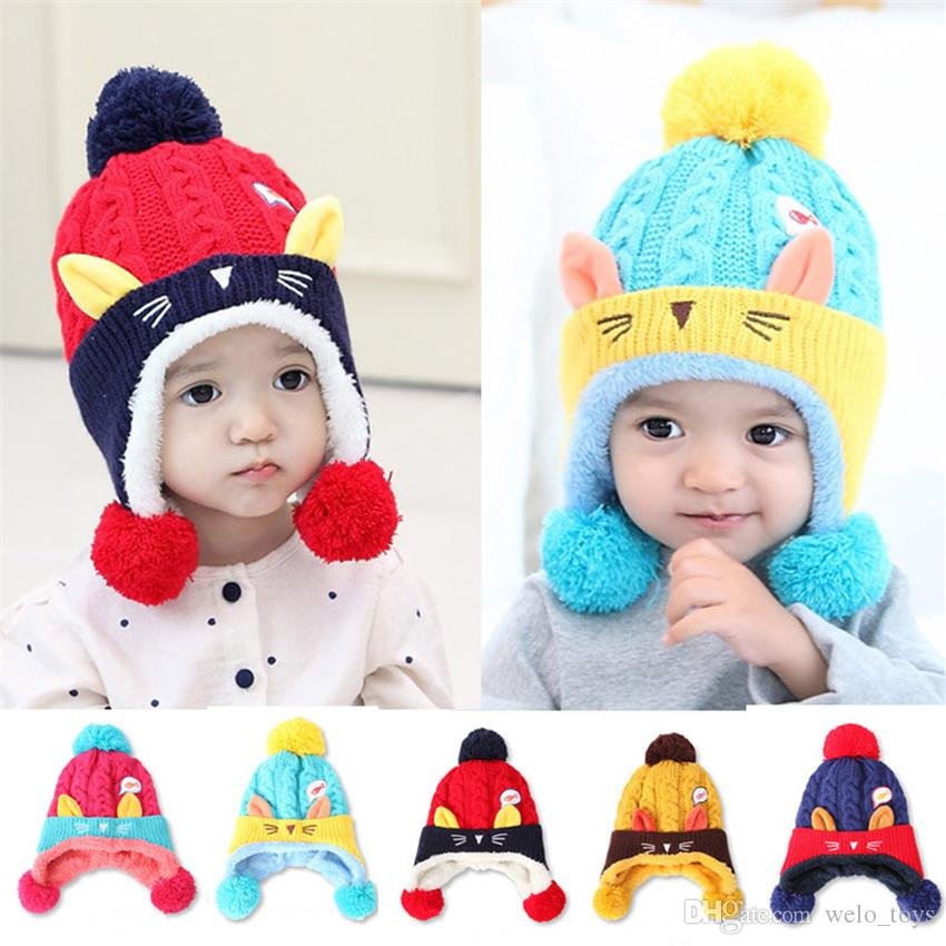 2019 Kawaii Baby Winter Hats Warm Infant Beanie Cap For Children Boys Girls  Animal Cat Ear Kids Crochet Knitted Hat For 6 24 Months Baby From  Welo toys 917c89caf62