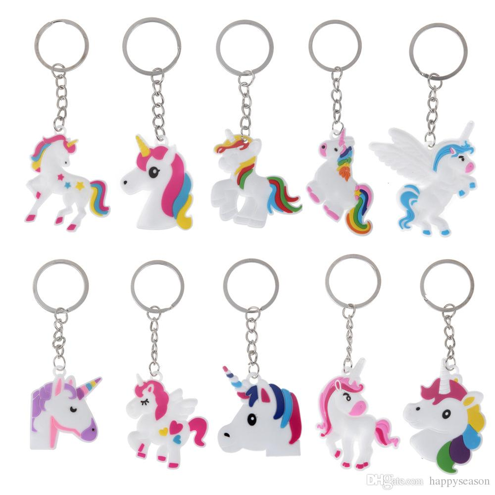 Unicorn Keychain Keyring Cellphone Charms Handbag Pendant Kids Gift Toys Phone Decoration Accessory Horse Key Ring