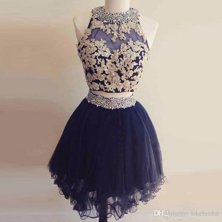 21551a8564f New Design Girls Sweet 16 Dress A Line Halter Neck Navy Blue Homecoming  Dress Gold Lace Beading Two Pieces Homecoming Gowns Short Tulle Dress With  Lace ...