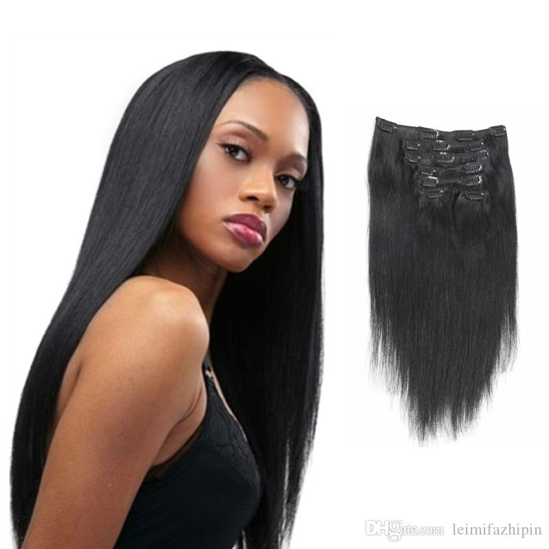 Clip In Human Hair Extensions Straight Black Best Quality Cheap