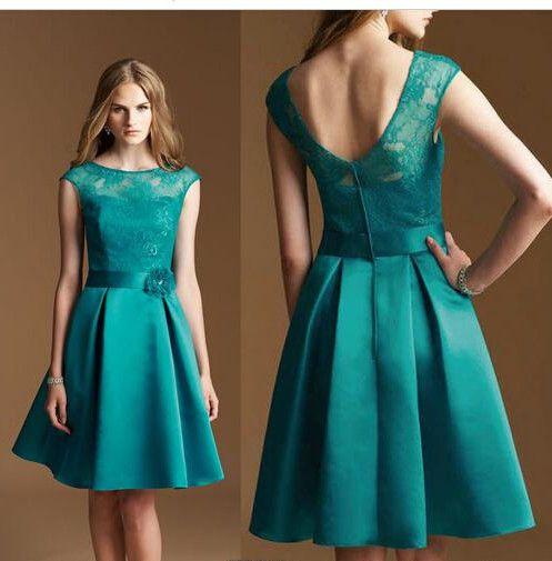 new turquoise short bridesmaid dress 2017 a line handmade