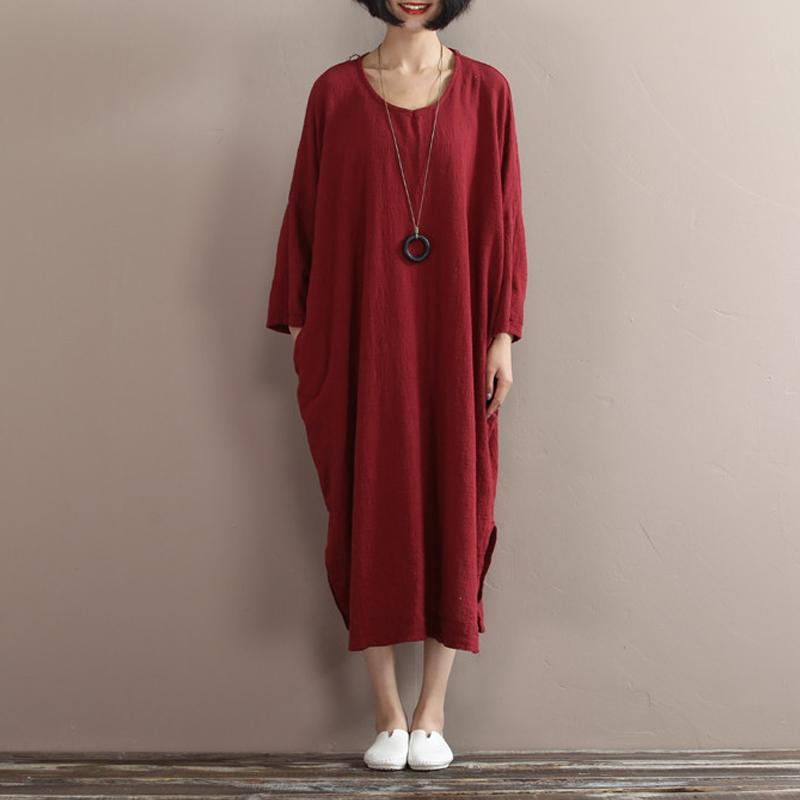 2017 New Women Cotton Linen Dress Spring Loose Batwing Sleeve Plus