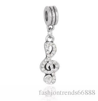 Fashion Musical Note Crystal Pendant Dangle Big Hole Loose Beads Charm For Pandora DIY Jewelry Bracelet For European Bracelet & Necklace