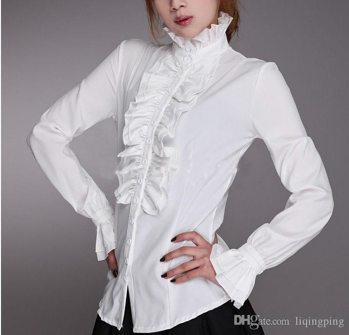 Customized 2017 New Cotton High Neck Frilly Womens Vintage Victorian Ruffle Top Shirt Blouse,Fashion Blouses For Women