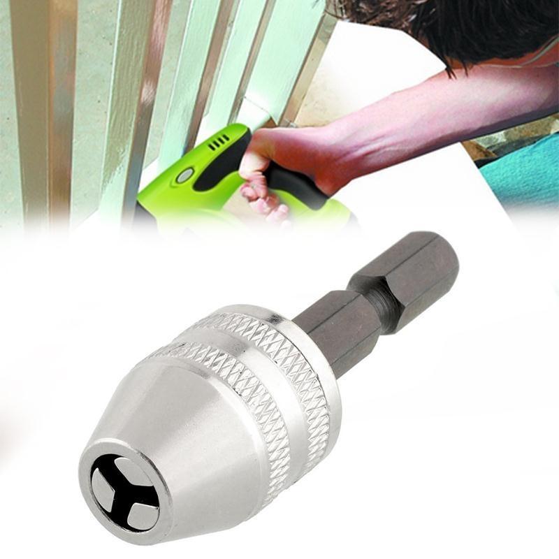 "DHL 50PCS Quality 6mm 1/4"" Keyless Drill Chuck Adapter Silver Brick Rotary Tools Drill"