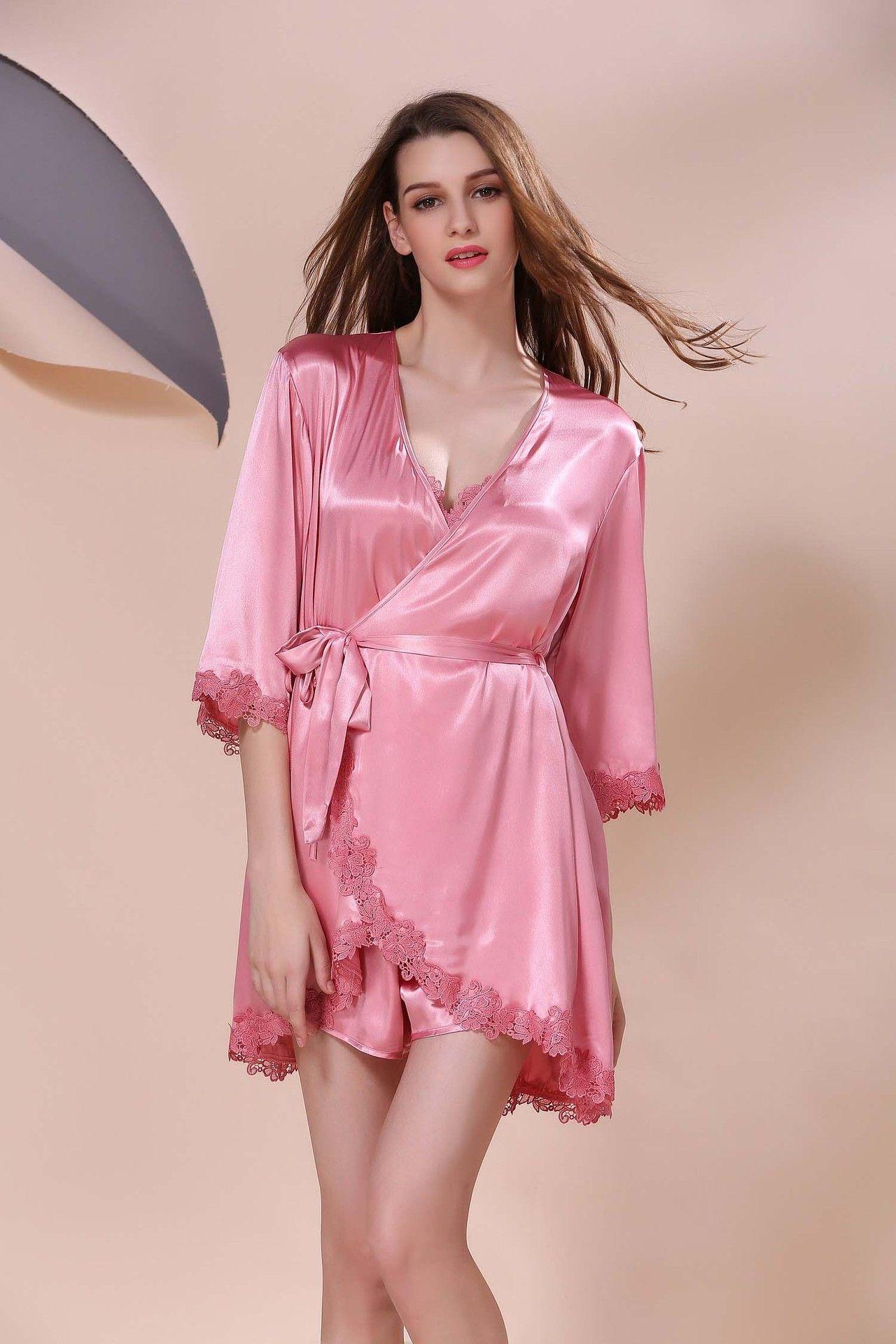 2017 Summer Ladies Sexy Silk Pajamas Silk Embroidery Nightdress ... 656139581