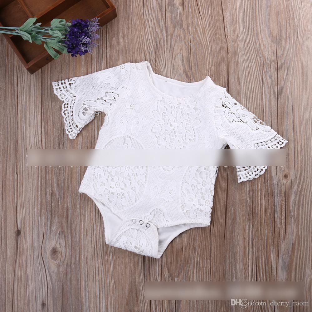 New Toddler Clothing Baby Rompers Jumpsuit Girls Onesie Girl Lace Solid Cute Romper Bat-wing Sleeve Rompers One-piece White A6093
