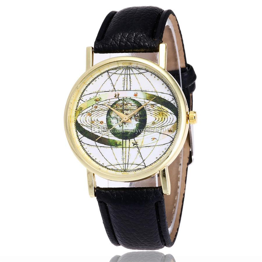 2017 New Fashion World Map Watch Casual Women Dress Wrist Watches