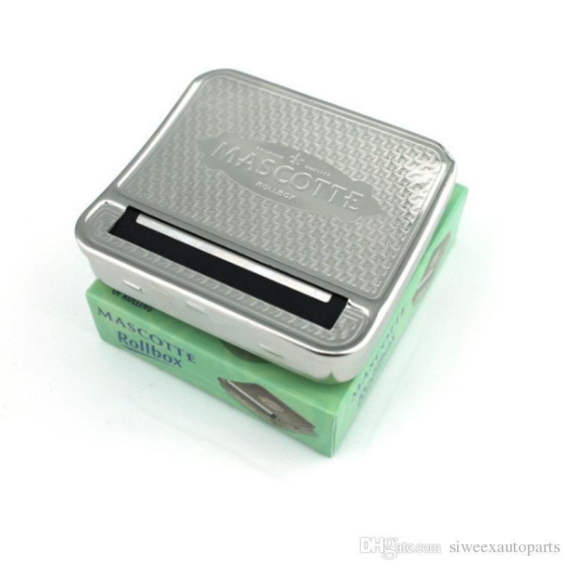 Máquina de rolamento de cigarro Rollbox tomada de Caixa de Rolo de aço inoxidável de Metal Caixa de Rolo de Metal DIY 70mm
