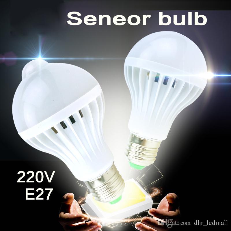 Acheter Led Pir Ampoule Capteur De Mouvement 5w 7w 9w E27 220v