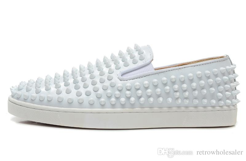 2001af905f6 Red Bottom Shoes Spikes For Men White Low Cut Genuine Leather Slip On  Summer And Winter Paris Luxury Designer Casual Flats Size 39 46 Dansko Shoes  Indoor ...