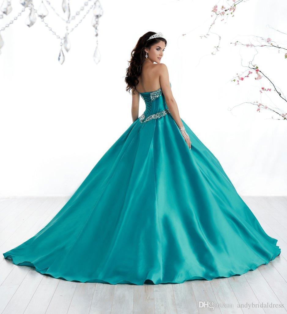 großhandel süße 16 ballkleider einfache design schatz satin günstige  quinceanera kleider kleider mit sweep zug adq009 von andybridaldress,  160,72 €