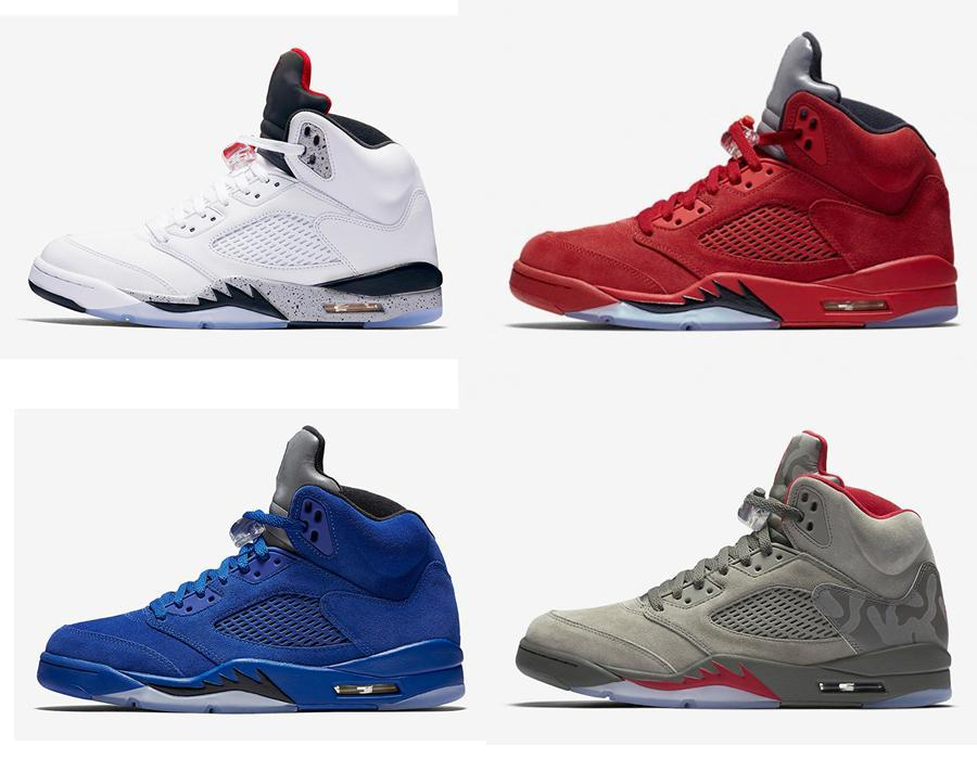 746e72bcf0550 Retro 5 Flight Suit Red Blue Suede 5s White Cement Camo Basketball Shoes  Sneakers 2017 New