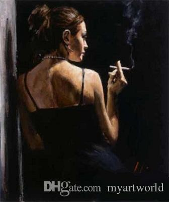 Framed Fabian Perez Black sexy dress girl smoking next to the wall,Pure Hand Painted Portrait Art Oil Painting Canvas.Multi Sizes Fp039