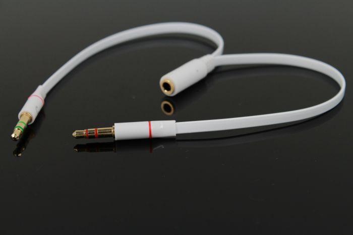 TPE AUX 3.5mm Microfono computer Adattatore cuffia 1 maschio a 2 femmine Connettore microfono + spinotto cuffie Y Splitter Estendi cavo audio AUX 100p