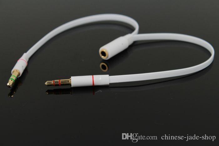 TPE AUX 3.5mm Mikrofon Komputerowy Adapter Headphone 1 Mężczyzna do 2 Samica mikrofon Wtyczka + Wtyczka słuchawek Y Splitter Extend Aux Audio Cable 100 p