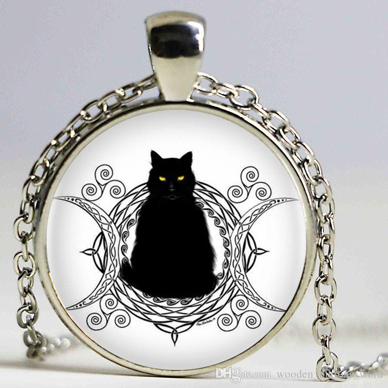 lot maiden mother crone moon with cat and spiral triskele art pendant necklace cabochon statement necklace for women necklace fashion jewelry online with