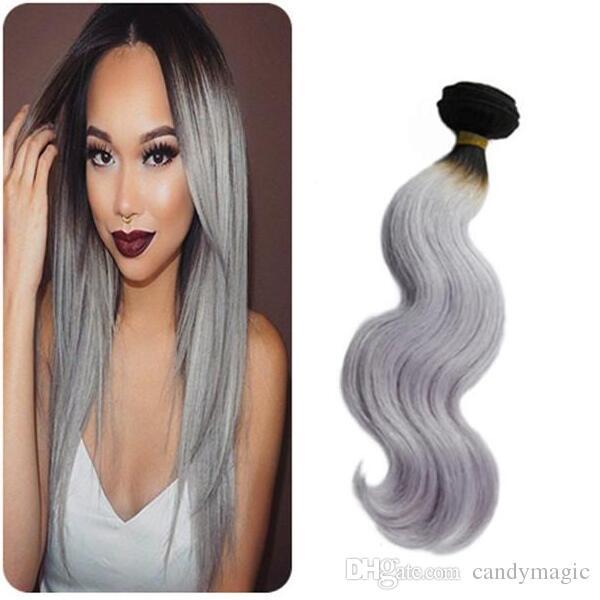 Brazilian Body Wave Bundles Virgin Silver Grey Hair Weave For Black