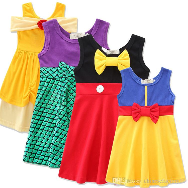 fd475fcda3498 Summer Girls Sleeveless Dress Kids Snow White Mermaid Princess Dresses With  Bow Wasitband Girl Casual Lovely Skirts Clothes
