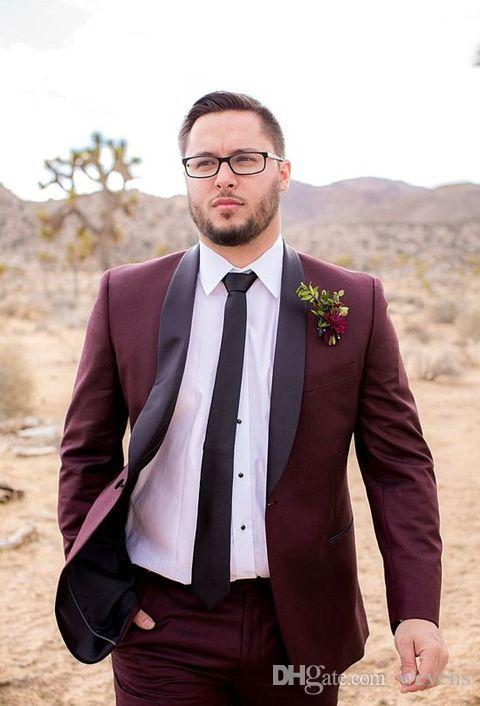 Classy Burgundy Wedding Tuxedos Slim Fit Suits For Men Cheap One ...