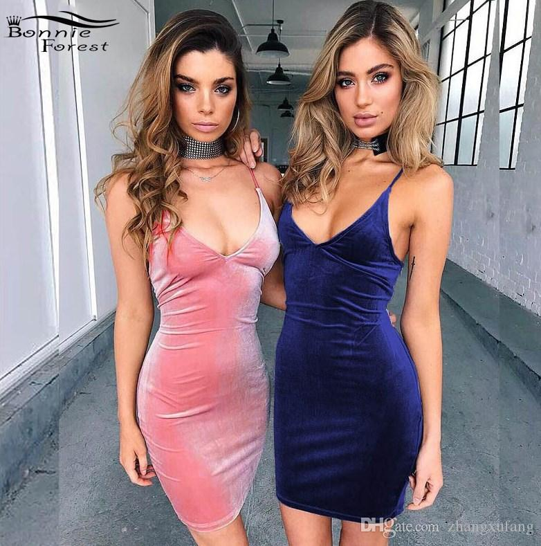 d351cac39e52 2019 Bonnie Forest Summer Fashion Velvet Lace Up Bodycon Dress Sheath  Clubwear Velvet Dress For Women Casual Crushed Slip Dress From Zhangxufang