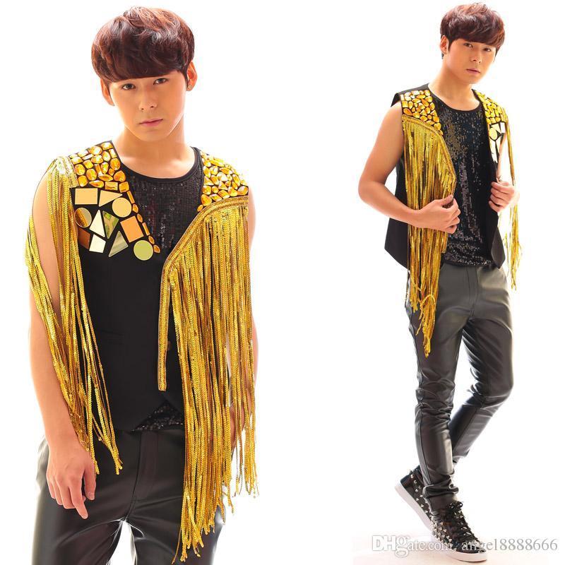 2017 silver gold vest DS male singer Tassels vest chain nightclub DJ stage costume Good quality men singer dancer star Fashion Costume show
