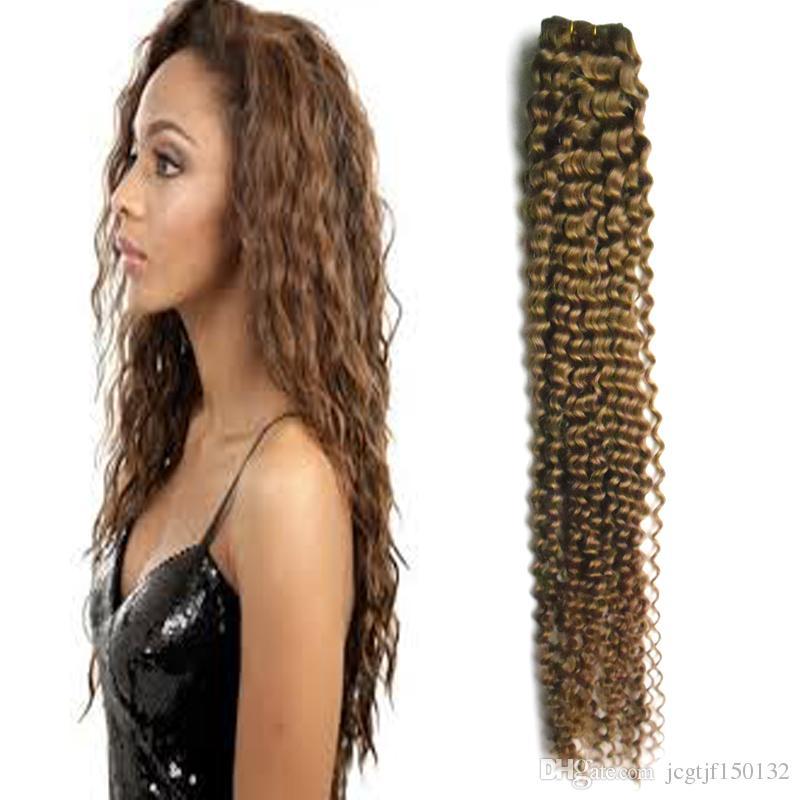 # 8 Light Brown non trasformati vergine brasiliana ricci tessuto dei capelli umani vergini 100g tissage crespi ricci estensioni dei capelli umani bundles 1 PZ