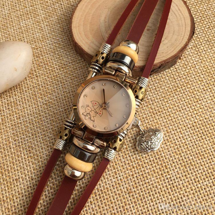 Студентки Смотреть Мода Подлинной Ремень Замок Браслет Часы Леди Алмаз Оптовая Женщин Девушка Кролик Зонтик