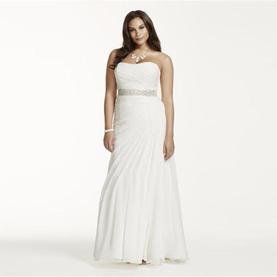 Crinkle Chiffon Draped Plus Size Wedding Dress Strapless