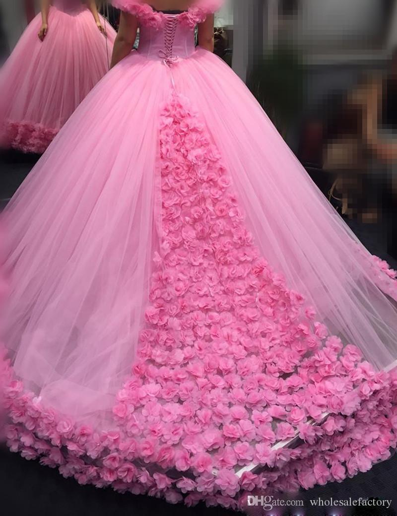 Großhandel Pink Ballkleid Brautkleider Mit Hand Made Blumen Sweet Cap  Sleeve Sweetheart Brautkleider Nach Maß Lace Up Kleider Vestido De Novia  Von