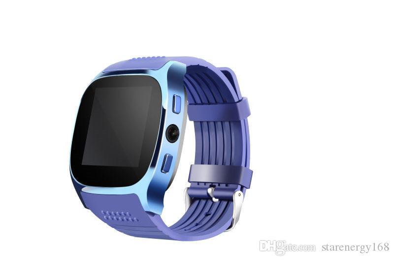 2019 Pour Android Nouveau T8 Bluetooth Smart Podomètre Montres Support SIM Carte TF Avec Caméra Sync Appel Message Hommes Femmes Smartwatch Montre W-BS
