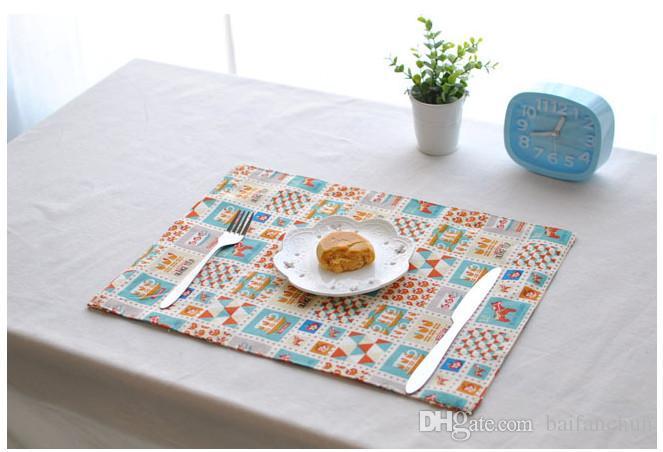 Manteles al por mayor Alfombra de mesa Comedor Alfombrilla de algodón y lino Placa de aislamiento Almohadilla antideslizante 30 * 40 cm Doble capaUtilice doble cara