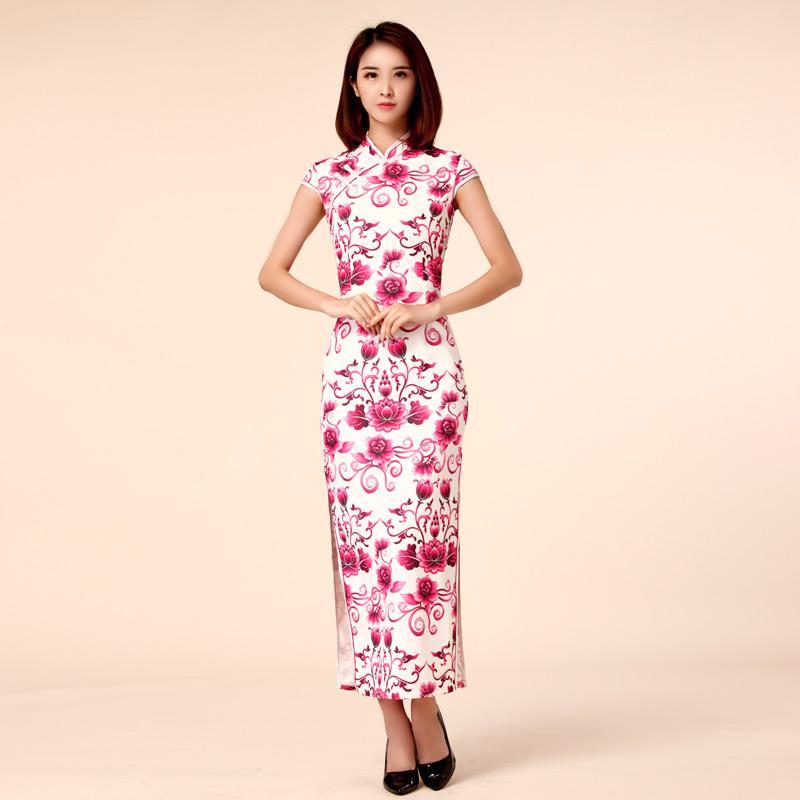 Rose Red Color M 3xl Plus Size Women Clothes Elegant Sheath Maxi