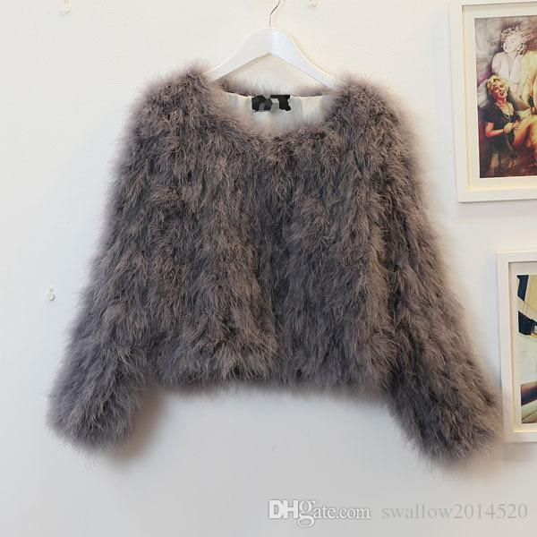 2017 fashion Women long sleeves sexy Ostrich turkey fur wool coat feather fur short jacket swagon apparel in stock