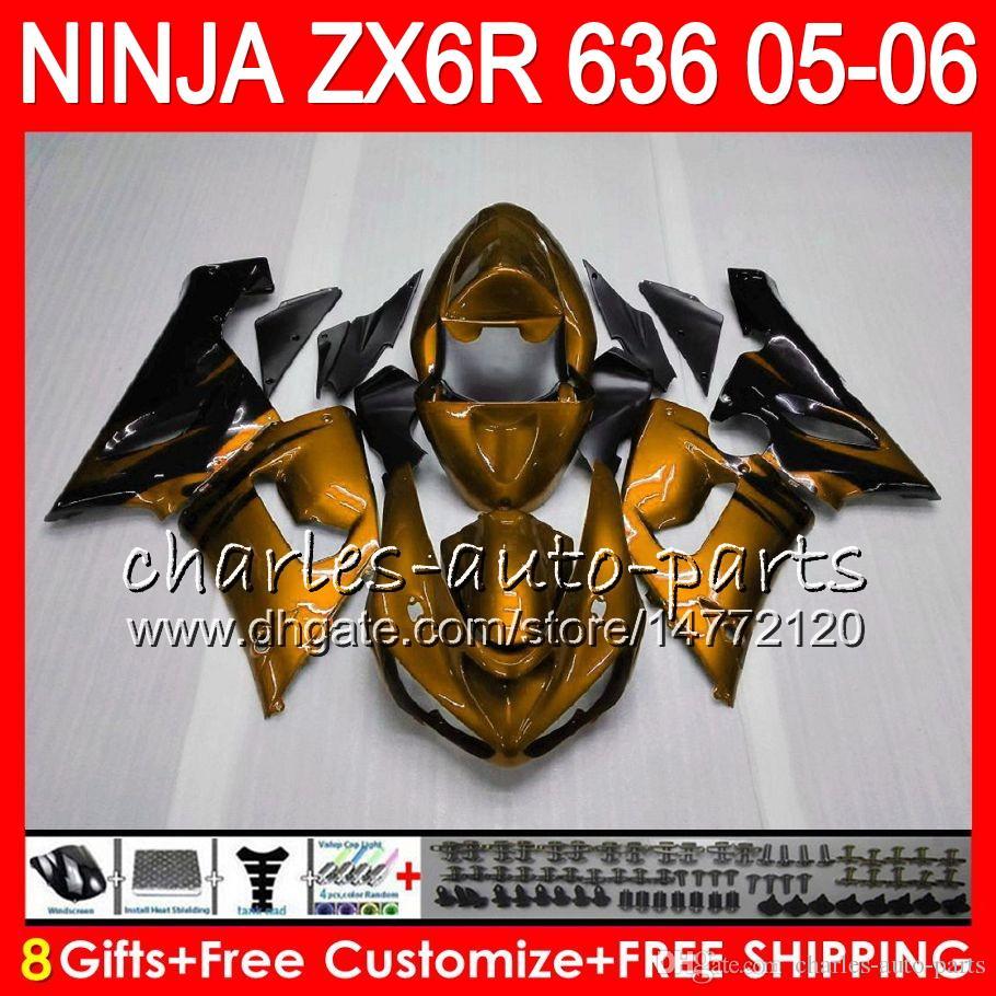 8Geschenke Kit Für KAWASAKI NINJA ZX636 ZX6R 05 06 600CC Gold Flammen 27NO98 ZX-636 ZX-6R 05-06 ZX 636 ZX 6R 2005 2006 Verkleidung Karosserie