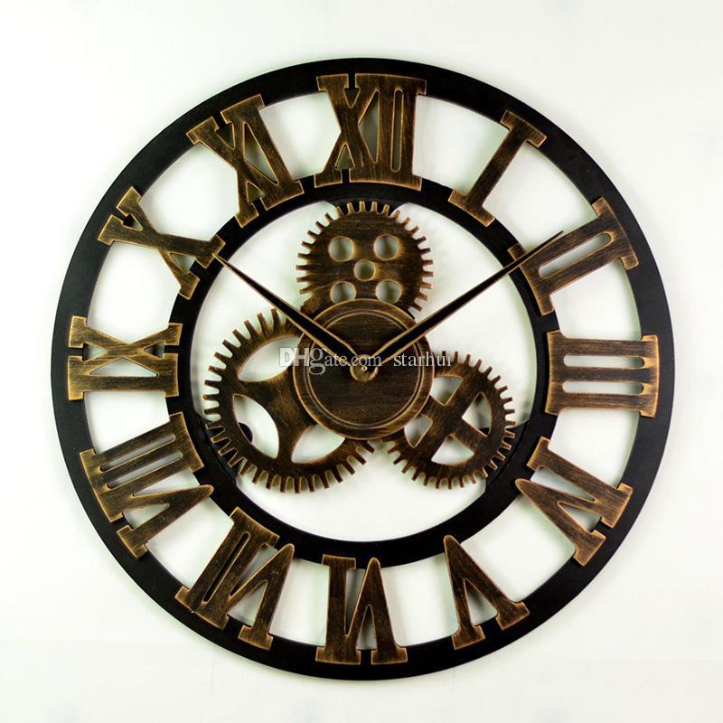 4 Estilo de La Vendimia Hueco Engranaje Redondo Reloj Creativo Sala de estar En Casa Decoración Del Dormitorio Relojes de Pared Envío Gratis WX9-44