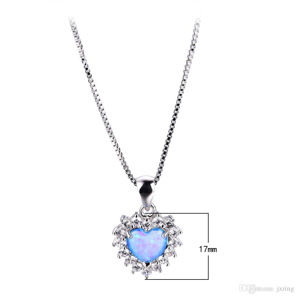 Wholesale blue opal heart necklace 925 sterling silver filled wholesale blue opal heart necklace 925 sterling silver filled necklaces pendants for women new fashion jewelry best gift gold pendant necklaces mens pendant aloadofball Choice Image