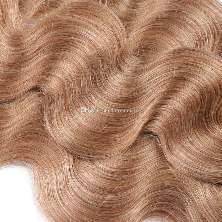 두 톤 인간의 머리카락 묶음 360 레이스 정면 폐쇄 1b 27 허니 금발 360 전체 레이스 밴드 프론트 바디 웨이브 헤어