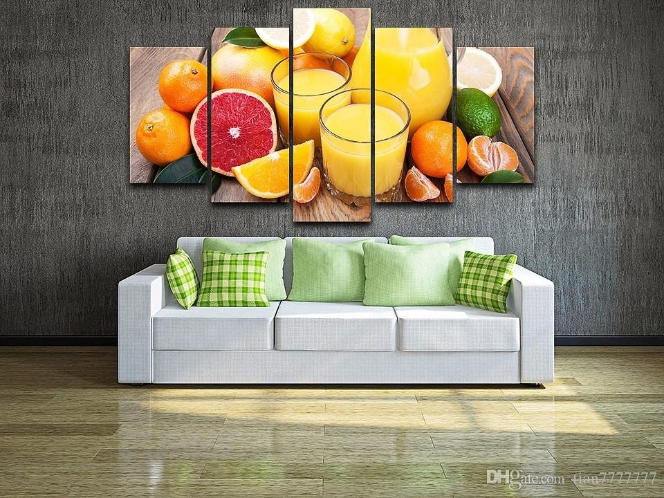 Fruit Oranges Juice Glass 5 Panel Canvas Painting Modern Home decoration Wall Art Print Picture For Dinning room No frame