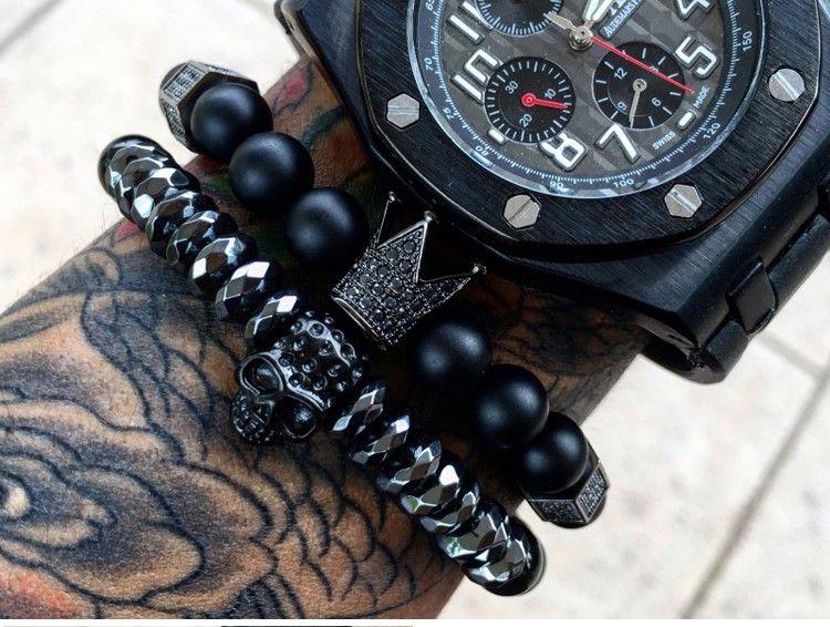 Hot Black Skull men Titanium Steel Bracelet 8mm Natural Onyx Stone Beads Skull Charm Bracelet Jewelry Fashion men