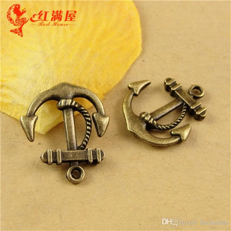 23 * 21MM Antique Bronze Anker Charms für Armband, Jahrgang baumeln Metall Nautik Element Anhänger für Halskette, Tibet Schmuck machen Erkenntnisse