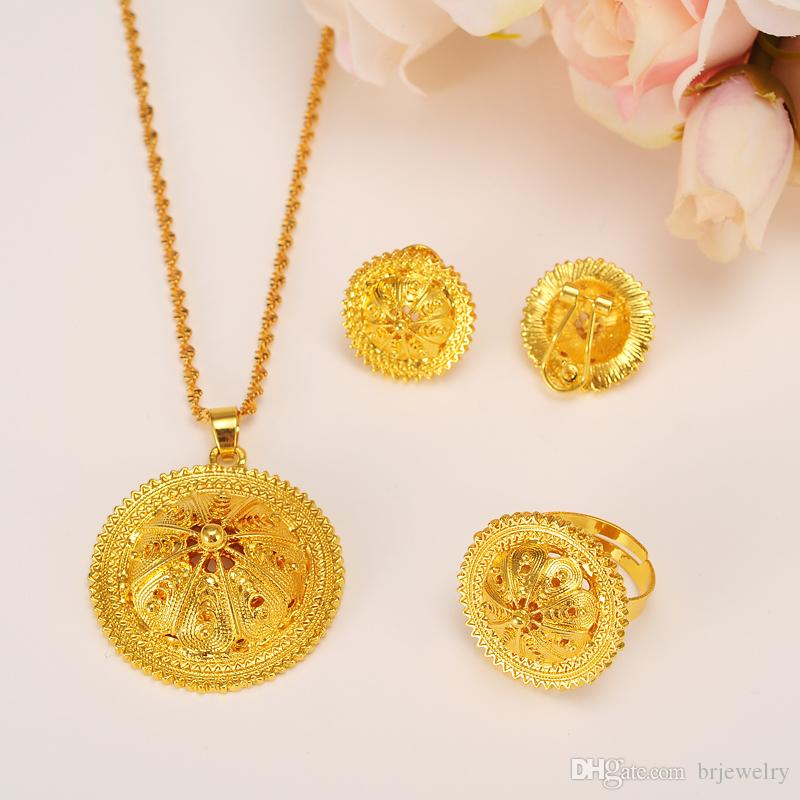 Ethiopian Gold Jewelry Set Pendant Necklaces Earring Ring Africa