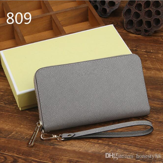 Factory direct European and American fashion trend ladies wallet single zipper cross pattern real leather hand long wallet 0022