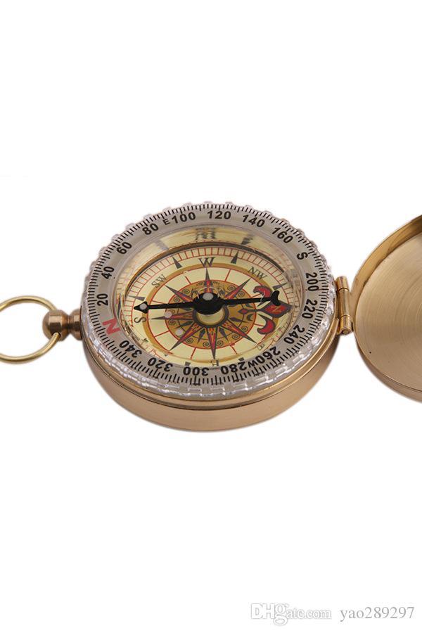 G80 Portable Militaire Compas En Laiton En Métal Cadeau Lumineux Poche En Laiton Montre Style Bague KeyChain Camping De Randonnée Voiture Compass Survival Watch