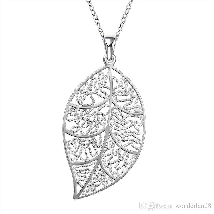 Wholesale 925 sterling silver plated pendant necklace lucky leaf wholesale 925 sterling silver plated pendant necklace lucky leaf hollow design charm rolo link chain diy jewelry for woman gift party wholesale aquamarine aloadofball Choice Image