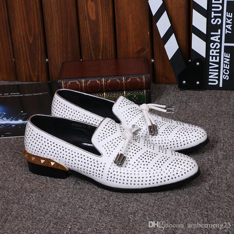 37-46 Yüksek Kalite Erkekler Hakiki Deri Ayakkabı Düğün Oxfords Beyaz Kristal Rhinestones Casual Erkek Loafer'lar Yassı Zapatos De Mujer