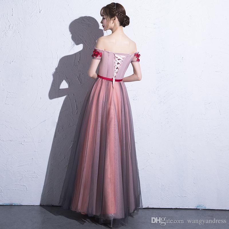 2017 Dolce Sexy Beteau Collo Fiore Rosso Bordare Tulle Abito Da Sera Con Sottile Fascia Lace Up Piano Lunghezza Prom Party Gown Formale Wear