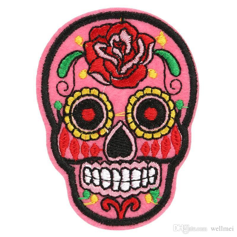Patch DIY Flowered Skull Embroidered Patches Fabric Badges Iron-On Sewing For Bags Patches Clothes Hat Decorative Ornament